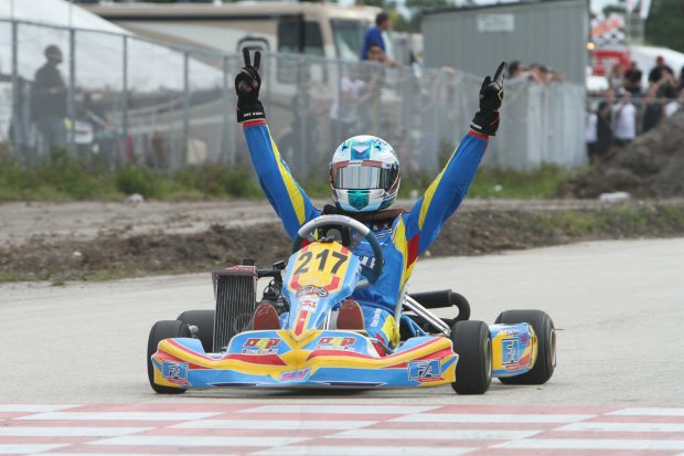 Weprin won both Junior Max feature races at the Florida Winter Tour, including coming from the LCQ race on Sunday (Photo: Ken Johnson - Florida Winter Tour)