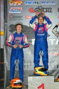 Luke Selliken (l) and Blaine Rocha (r) reached the top of the podium in Junior Max for a second straight weekend (Photo: Sean Buur - Go Racing Magazine)