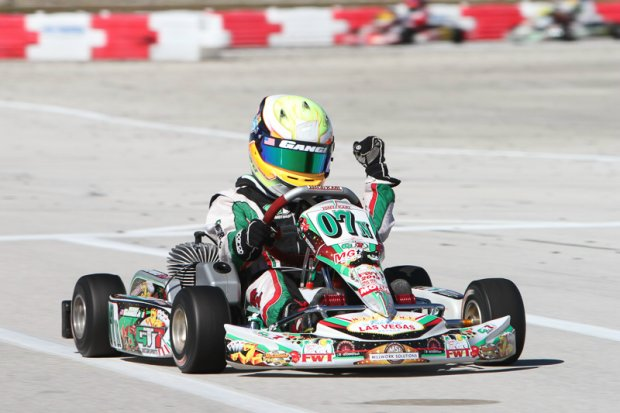 Gangi earned a perfect two weekends at the Florida Winter Tour, winning all four Cadet features in TaG Cadet in Mini Max (Photo: Ken Johnson - FWT)