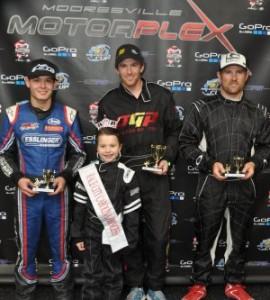 TaG Senior podium featuring Kyle Larson, Scott Speed and Jason Bowles (Photo: mooresvillemotorplex.com)
