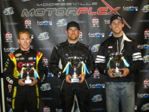 Jason Bowles (c) won the TaG Senior class, followed by Denny Hamlin (r) and Brad Sweet (l)