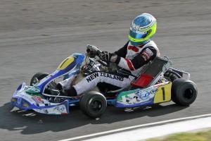 Matthew Hamilton claimed his first Formula S ProKart Series KZ2 class round victory of the year at Tokoroa (Photo: Fast Company-Graham Hughes)