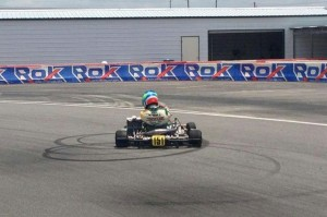 Nick Neri does donuts following his victory in Rok Shifter (Photo: rokcupusa.com)