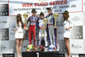 Parker Thompson (r) scored a third place podium finish at the WSK Euro Series finale (Photo: Press.net Images)
