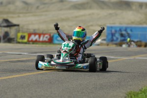Dylan Tavella won both TaG Cadet main events at the SKUSA SummerNationals  (Photo credit: On Track Promotions - otp.ca)
