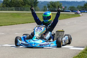 Garrett Johnston celebrates one of his two victories this past weekend (Photo: Sean Buur - Go racing Magazine)