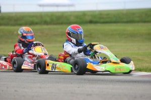 Neil Verhagen leads David Malukas on his way to the Cadet Sportsman 2 win aboard the Lemke Racing No. 01 (Photo: NCRM)