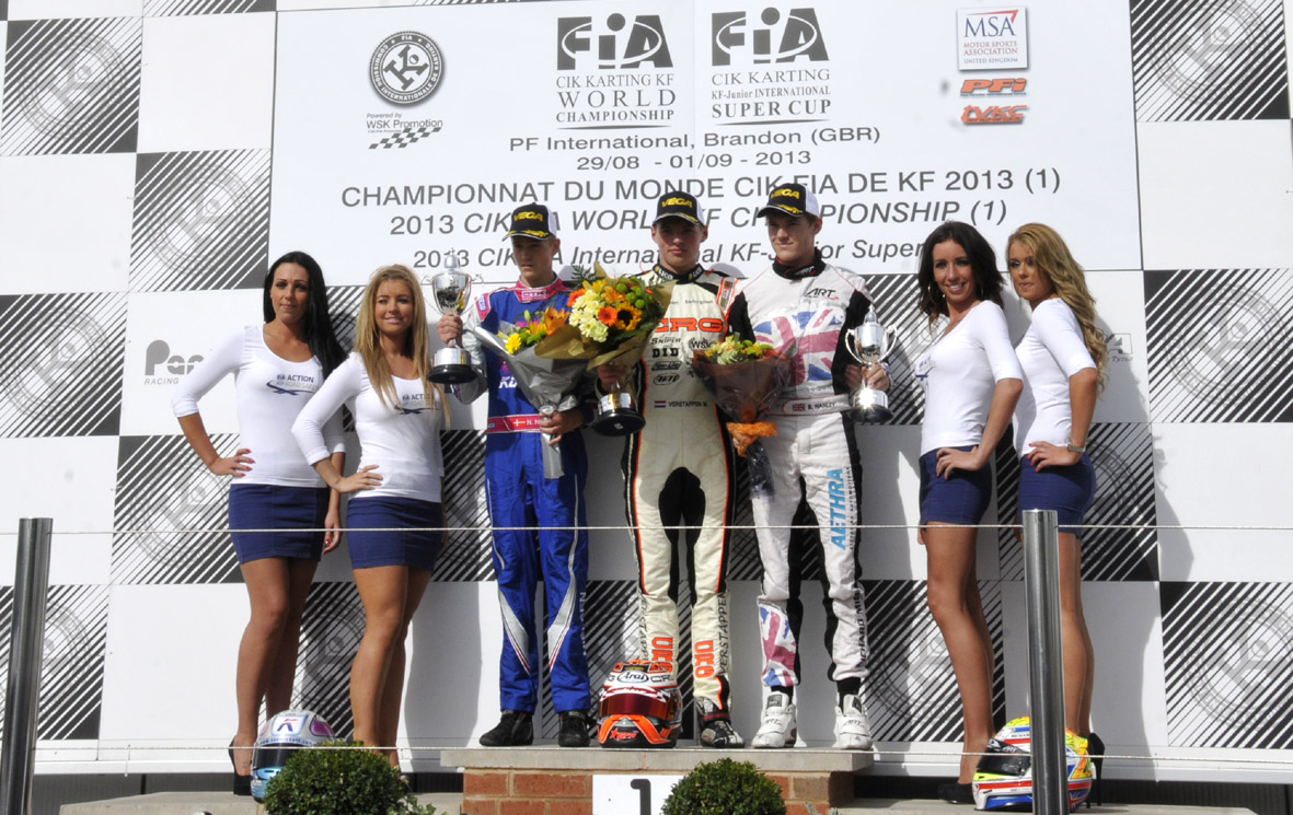 Max Verstappen atop the KF podium in Brandon