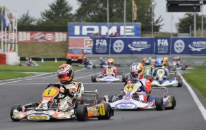 Max Verstappen, winner of four heats in KF in Brandon (UK) today.