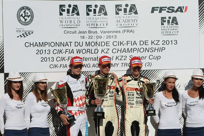 Verstappen atop the KZ podium (Photo: Cuna Photo)