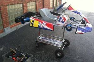 The Victory Kart meeting the LO 206 for the first time, prior to pre-race assembly
