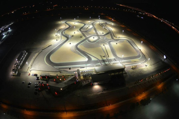 Night view of the Viva International Circuit in Sakhir Bahrain.