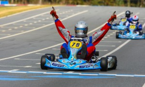 The 'Winning Celebration' has been a familiar pose for Top Kart USA drivers in 2013 (Photo: New Concepts Race Media)