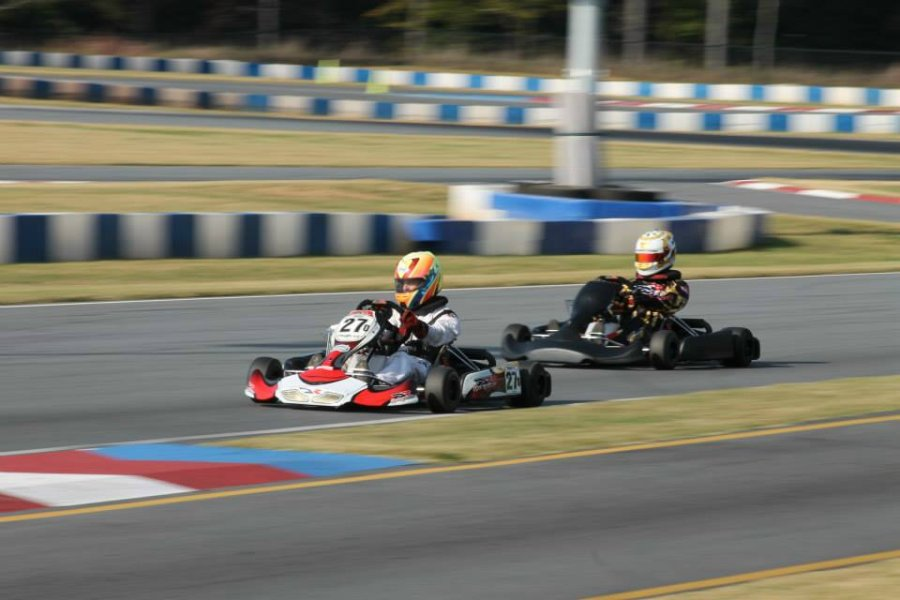 Chris Keller and Carter Fawtuch take on the GoPro Motorplex facility in North Carolina aboard the DR Racing Kart TaG chassis