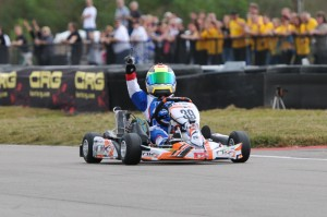 Dylan Tavella celebrates his Rotax Micro Max Invitational win in front of a huge crowd at the NOLA Motorsports Park  (Photo credit: Ken Johnson - studio52.us)