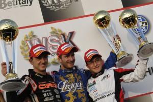 The KZ2 podium in Castelletto Di Branduzzo. Close to the winner Patrik Hajek (Center), are the second Davide Fore (Left) and Mirko Torsellini (press.net images)