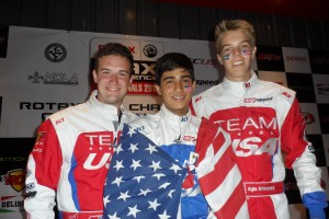 Joey Wimsett, Juan Manuel Correa and Oliver Askew celebrate their podium finishes at the Rotax Grand Finals