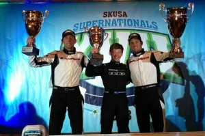 Kiwi drivers Daniel Bray, Marcus Armstrong and Matthew Hamilton put the Aluminos chassis on the podium at the SKUSA SuperNationals XVII (Photo: Aluminos.com)