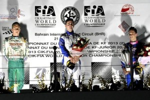 The winner of the KF final, Tom Joyner (GB), celebrates  on the podium of Sakhir, in Bahrain. On his right is the runner-up Karol Basz (PL) and on the other side is Armand Convers (F), third (press.net Images)