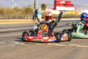 Birel driver Jak Crawford celebrates one of his two victories at the Rotax Challenge of the Americas (Photo: Sean Buur)