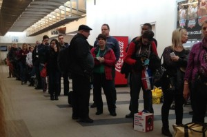 Long lines at the Louisville airport as flight delays hit