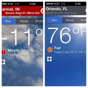A big difference in weather after just a few hundred miles of travel