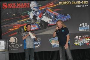 EKN's Rob Howden and SKUSA's Tom Kutscher during the Modesto Grand Prix press conference (Photo: Joanne  Azevedo - City of Modesto)