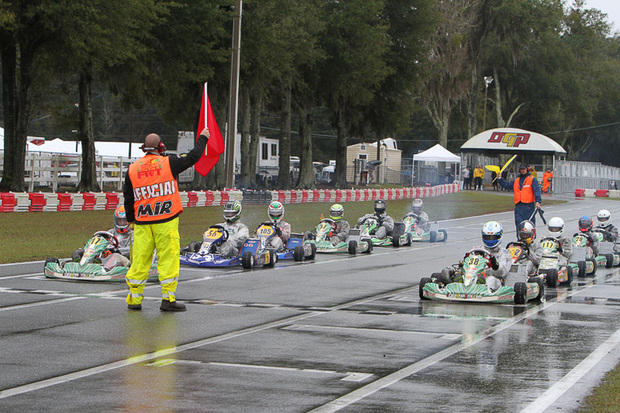 Formula Stock Moto drivers grid up on Saturday under wet weather conditions during round three.