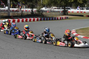 Close racing was found in all classes this weekend in Ocala. TaG Cadet drivers in action on Sunday (Photo: Ken Johnson - Studio52.us)