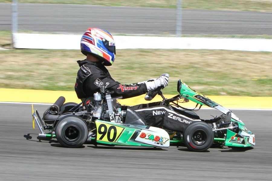 Ryan Urban (#90) proved too good for the competition in the combined Platinum Glass Rotax Heavy &Masters categories at the opening round of this year's Rotax Max Challenge in Palmerston North over the weekend (Photo: Fast Company/Graham Hughes)