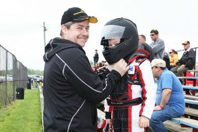 Scott and his son Keidon Fletcher enjoy their Saturday's at the Waterloo Regional Kart Club. Daughter Martie now races as well, and awesome mom Kimm regularly makes it a full Fletcher family outing (Photo: Dave Franks)