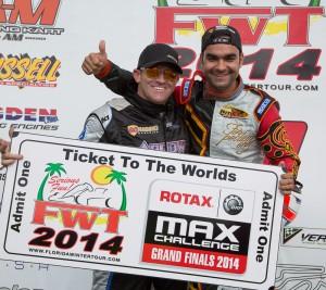 Masters Max champion Luis Schiavo (r) awarding Scott Falcone with ROtax Grand Finals ticket (Photo: Studio52.us)