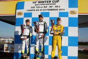 KF Junior podium - Fewtrell, the winner Enaam and Travisanutto (Photo: FMPress)