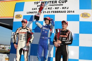 KF podium - Tiene, the winner Lorandi, Hiltbrand (Photo: FMPress)