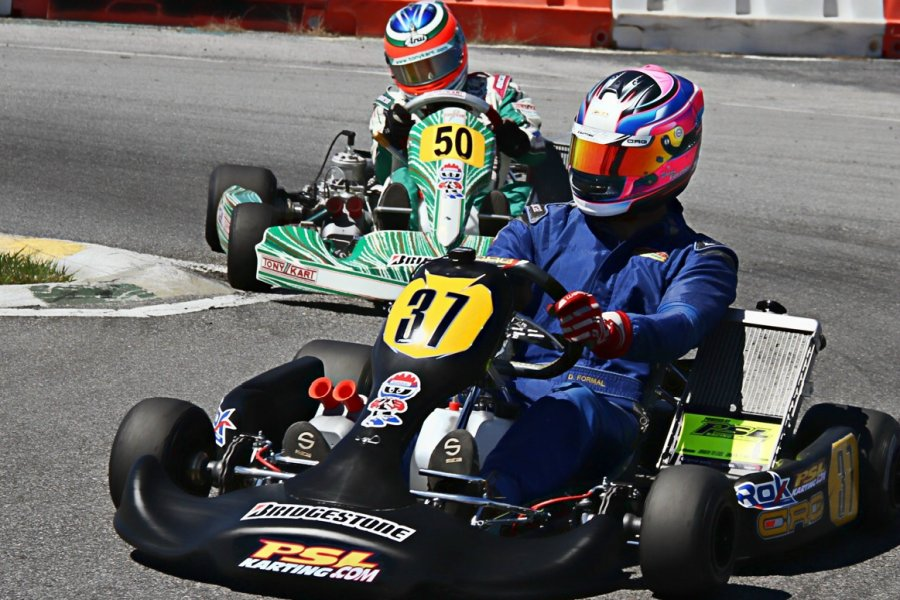 Daniel Formal leading former world champion Alessandro Piccini in Rok Shifter action (Photo: RokCupUSA)
