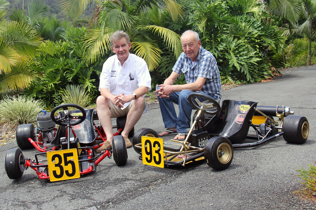 Harm Schuurman (left) and Angelo Parrilla (right) with two of Graham Powles' restored karts (Photo: Karting.net.au)