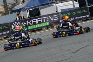 Scott Sorensen leading Harrington Doyle Racing Arrow Karts team-mate Jarryd Ebzery (Pic: AF Images/Budd)