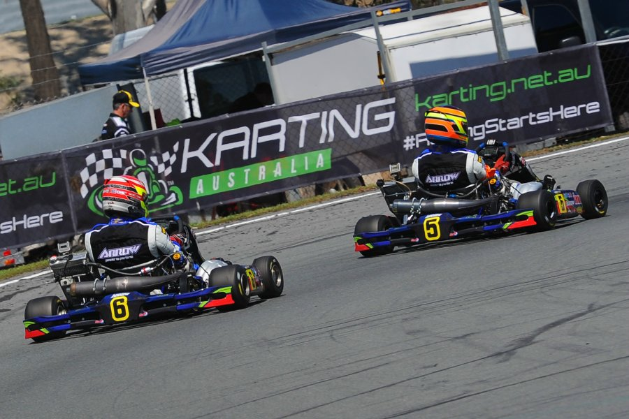 Scott Sorensen leading Harrington Doyle Racing Arrow Karts team-mate Jarryd Ebzery (Pic: AF Images/Budd)