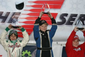 Justin White celebrates his win in Formula Rok (Photo: Iqbal Waryah)