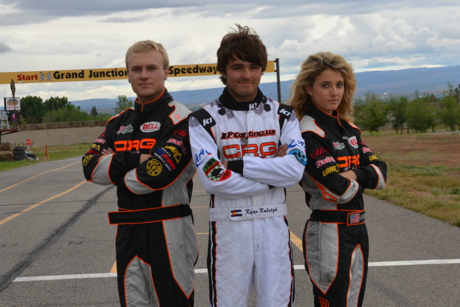 Round Two winner Tase Flores (left) and Round One winner Lindsay Brewer (right) flank Ryan Rudolph as all three are part of the emerging young crop of drivers in the S2 Semi-Pro category (Photo: Chrissy Anzlovar)