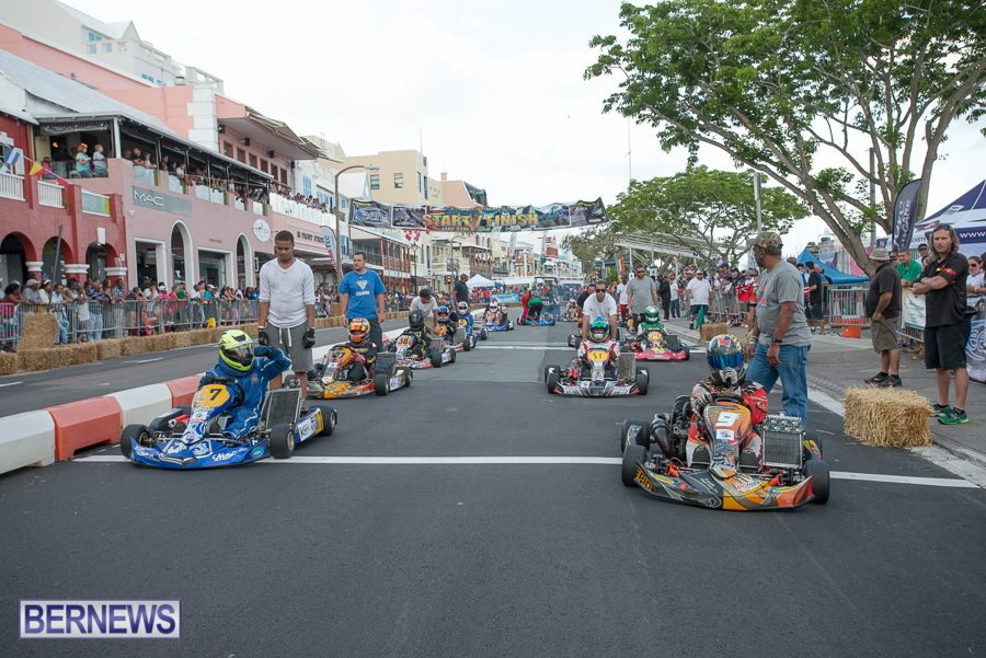 Shifterkarts on the grid for the Keen Ltd Grand Prix in Bermuda (Photo: BERNEWS)