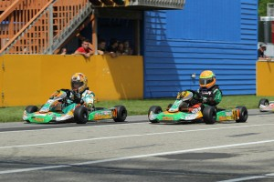 Austin Schaff (#18) beat out Sam Mayer (#22) in Yamaha Cadet