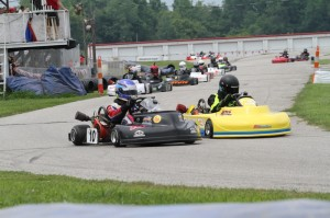 Gary Lawson races Jacob Heavlow into turn one at G&J Kartway (Photo: Double Vision Photography)