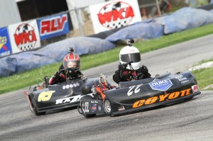 New York's Blake Boon out runs Georgia's Jax Walker to the win in LO206 Kid Kart at G&J Kartway WKA Gold Cup Nationals (Photo: Double Vision Photography)