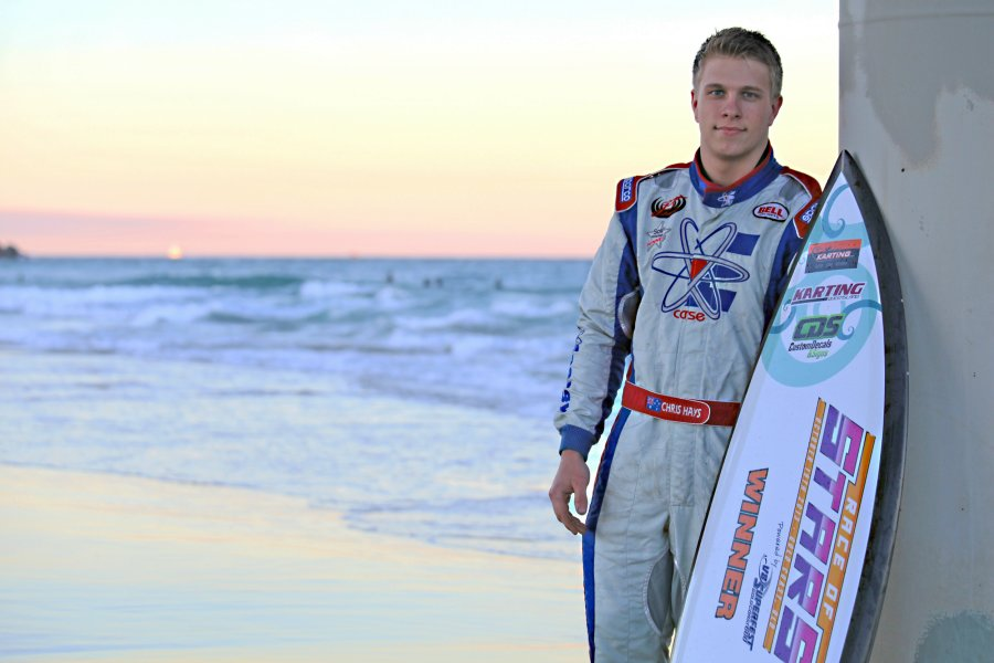 2013 KZ2 winner Chris Hays with his Race of Stars Winner Surfboard (Photo: AF Images)