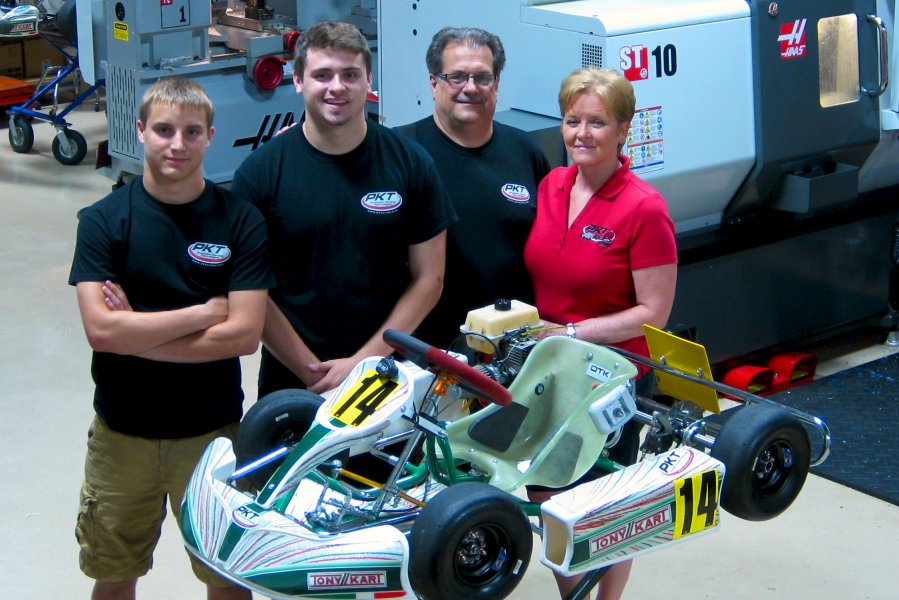 Precision Karting Technologies is family-owned and 100% for karting (L to R) Chad Krause, Alex Watzke, Kim Watzke and Linda Watzke