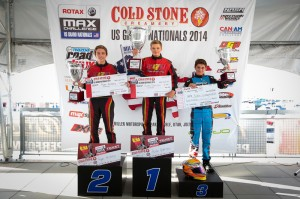 Versteeg climbed to the third step of the podium in the Junior Max division, standing alongside his Team USA teammates for the 2014 Rotax Grand Finals (Photo: Studio52.us)