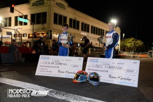 Lachlan DeFrancesco (Left) and Lance Fenderson (Right) were consistently at the front of the field at the Modesto Grand Prix and were rewarded for their success (Photo: On Track Promotion - OTP.ca)