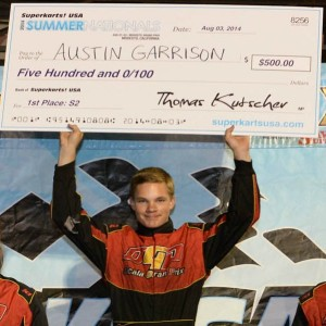 Austin won $500 for scoring the most points at the Modesto Grand Prix (Photo: On Track Promotions - otp.ca)