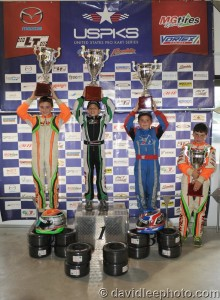 Mini Rok Cadet championship podium (Photo: DavidLeePhoto.com)